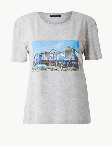 Beach House Print Relaxed Fit T-Shirt