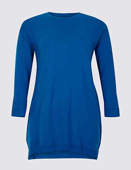 CURVE Cotton Rich Round Neck 3/4 Sleeve Top
