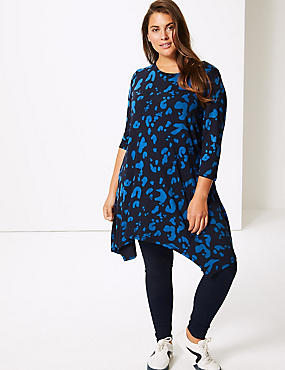 CURVE Printed Round Neck 3/4 Sleeve Tunic , BLUE MIX, catlanding
