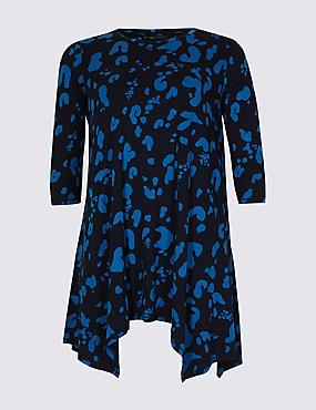 CURVE Printed Round Neck 3/4 Sleeve Tunic