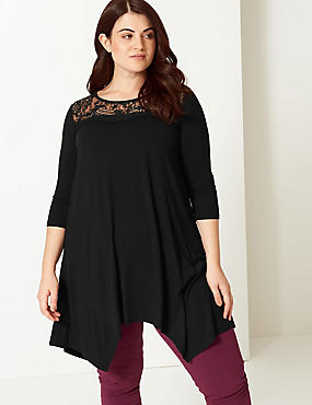 CURVE Lace Round Neck 3/4 Sleeve Top