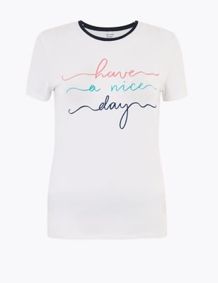 Cotton Slogan Fitted T-Shirt