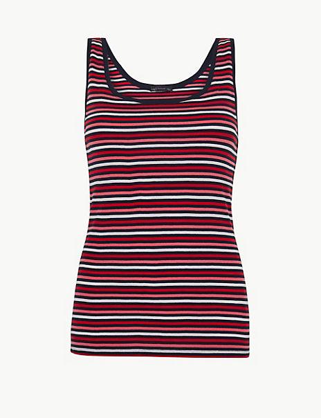 Pure Cotton Striped Regular Fit Vest Top