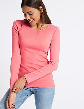 Pure Cotton Round Neck Long Sleeve T-Shirt, WATERMELON, catlanding