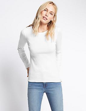 Pure Cotton Round Neck Long Sleeve T-Shirt, WHITE, catlanding