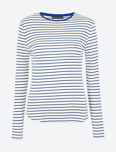 Pure Cotton Striped Regular Fit T-Shirt