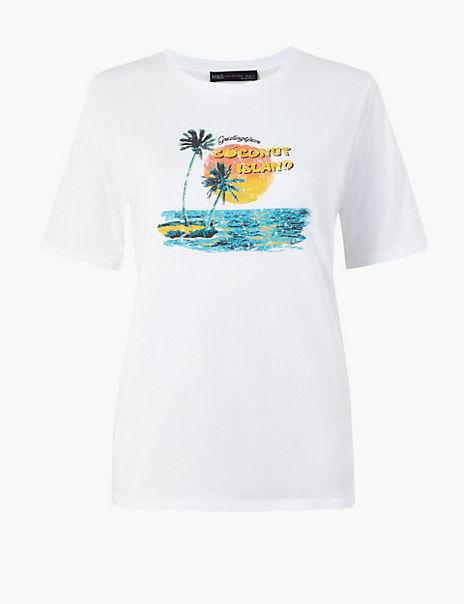 Pure Cotton Palm Slogan Straight Fit T-Shirt