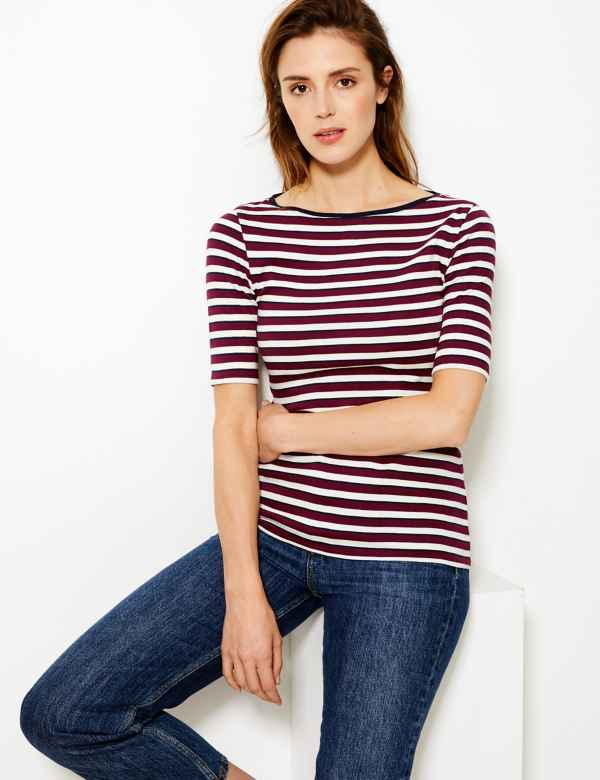 69bed4c038 Cotton Rich Striped Regular Fit T-Shirt. M&S Collection