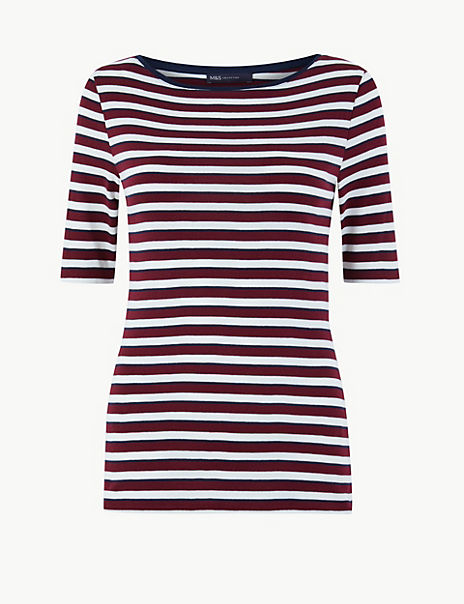 Striped Boat Neck Half Sleeve T-Shirt