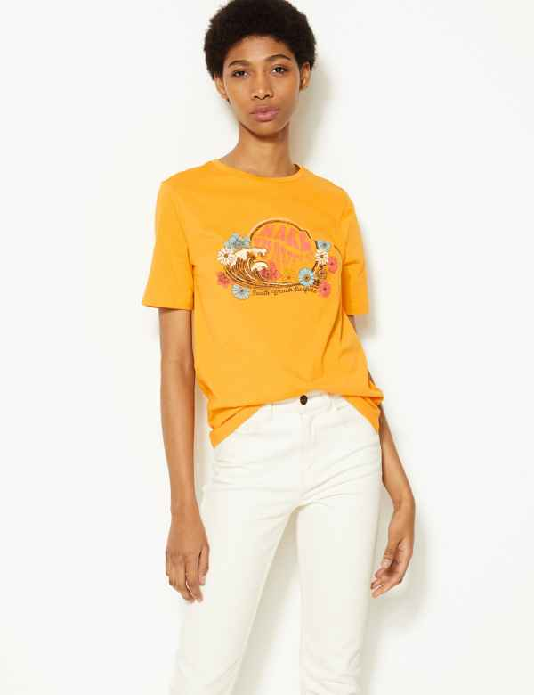 5ac999a05b1 Pure Cotton Printed Straight Fit T-Shirt