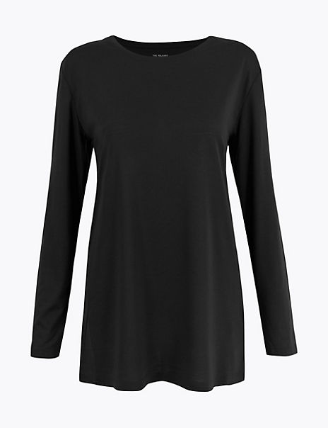 Relaxed Fit Longline Long Sleeve Top