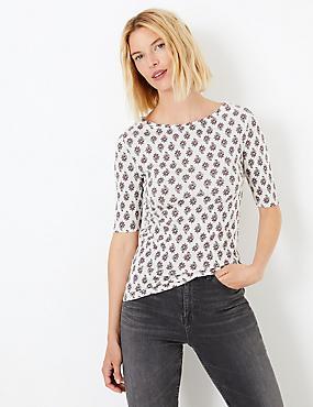 4f9fa2442 Camiseta floral 100% algodón de ajuste estándar