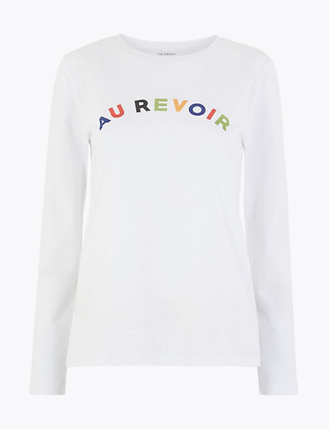 Pure Cotton Au Revoir Straight Fit T-Shirt
