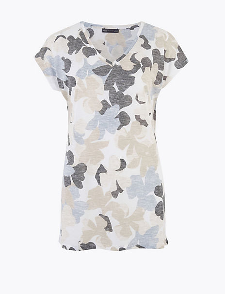 Floral V-Neck Relaxed Longline T-Shirt