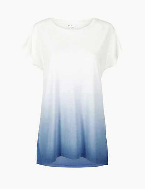 Relaxed Fit Longline Dip Dye T-Shirt