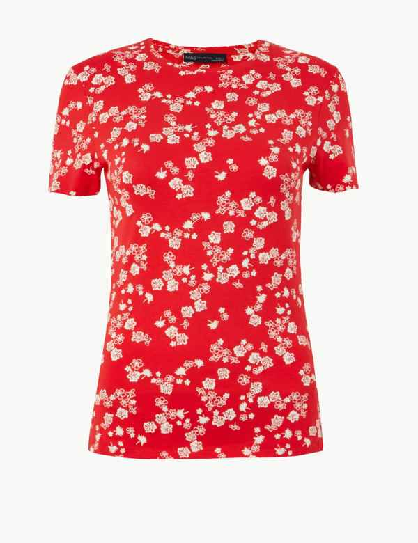 033b5ef8a Cotton Rich Floral Print Fitted T-Shirt