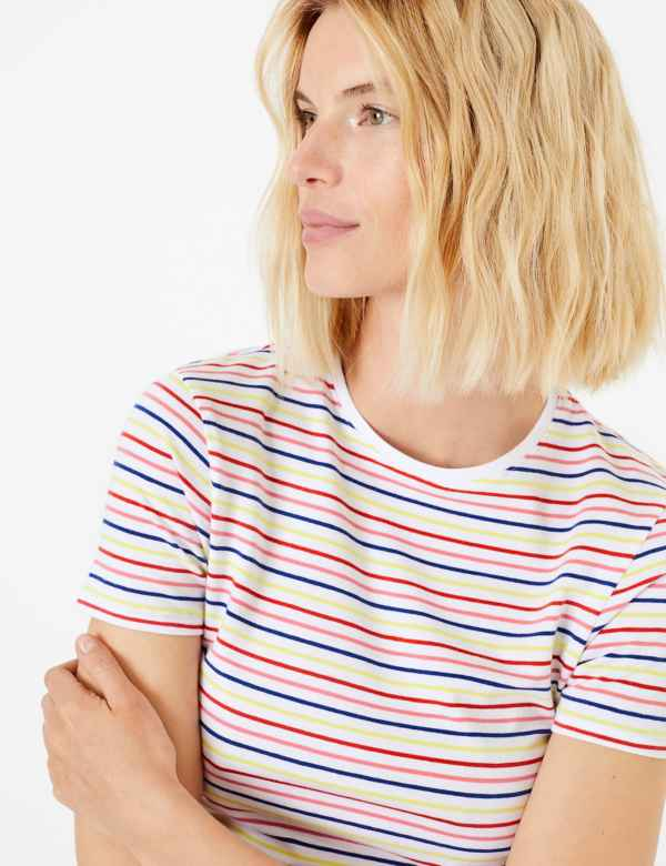7740ef37 Cotton Rich Striped Fitted T-Shirt