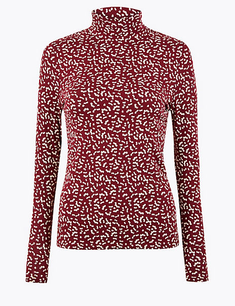 Cotton Rich Petal Print Fitted Top