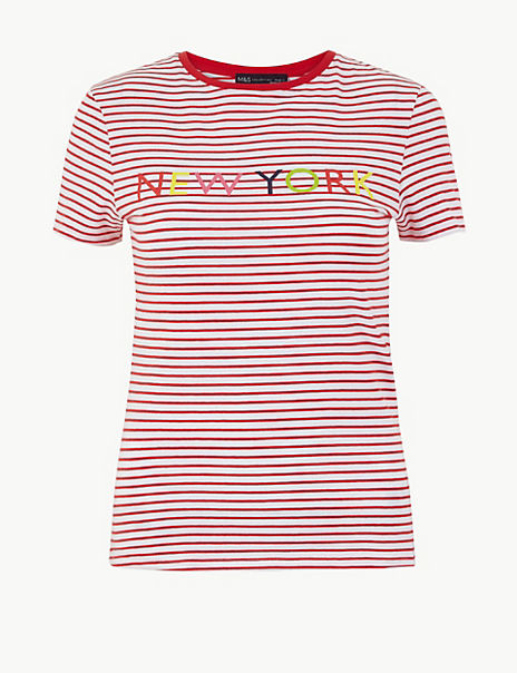 Striped New York Fitted T-Shirt