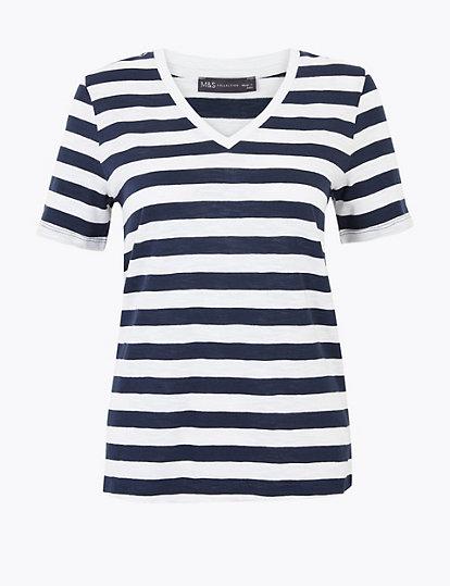 New M/&S Maternity /& Beyond White /& Navy Striped Top Sz UK 14