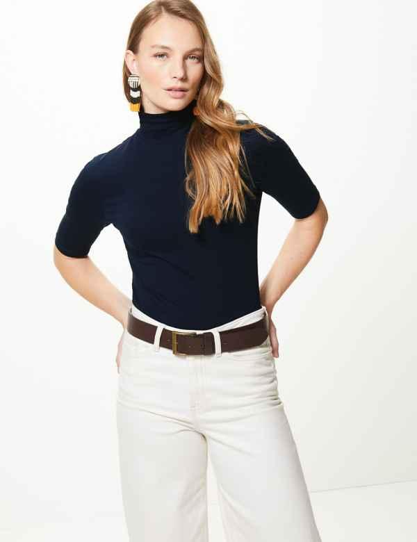 b451e1819f1a45 High Neck Short Sleeve Fitted T-Shirt