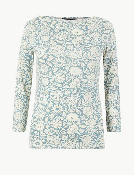 Cotton Rich 3/4 Sleeve Fitted T-Shirt