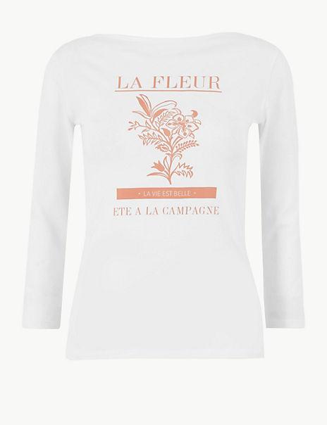 La Fleur Slash Neck Fitted T-Shirt