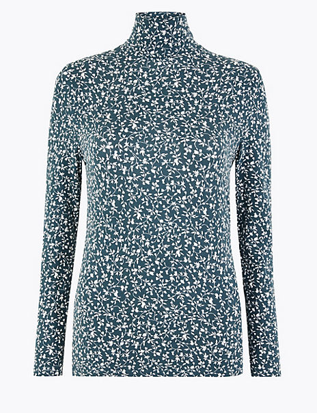 Cotton Rich Printed Fitted Long Sleeve Top
