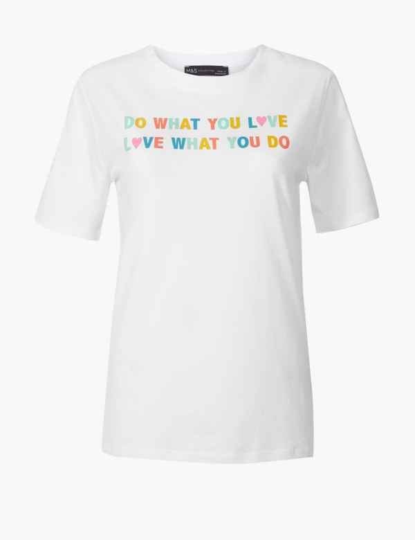 d929e9440d60 Pure Cotton Love Slogan Straight Fit T-Shirt | M&S Collection | M&S