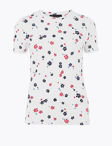 Cotton Rich Floral Print Fitted T-Shirt