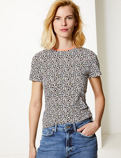 f5efc5d337ee Animal Print Round Neck Fitted T-Shirt | Tops & t-shirts | Marks and ...