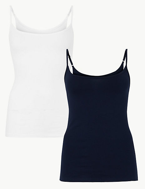 2 Pack Fitted Scoop Neck Camisole Top