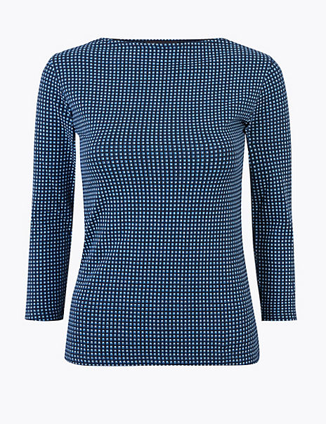 Cotton Rich Fitted Tile Print T-Shirt