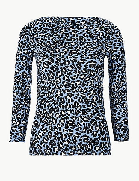 Cotton Rich Animal Print Fitted T-Shirt
