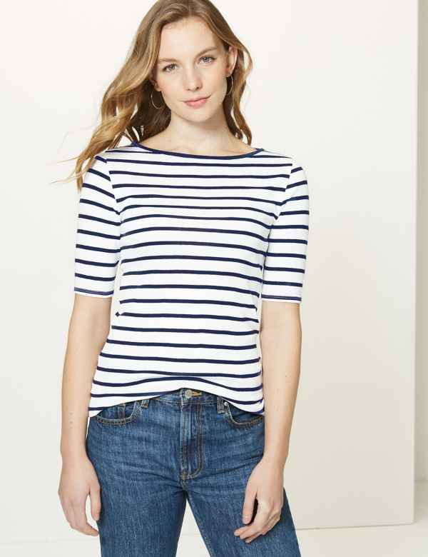 8ee7c168522828 Pure Cotton Striped Regular Fit T-Shirt