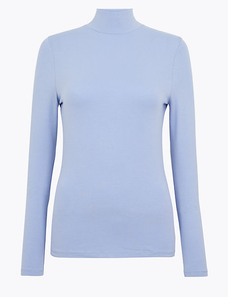 Cotton Rich Funnel Neck Fitted T-Shirt