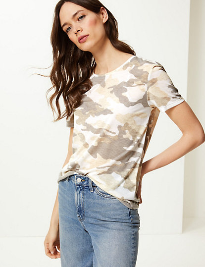 a370cf08 Camouflage Print Relaxed Fit T-Shirt | Tops & t-shirts | Marks and ...
