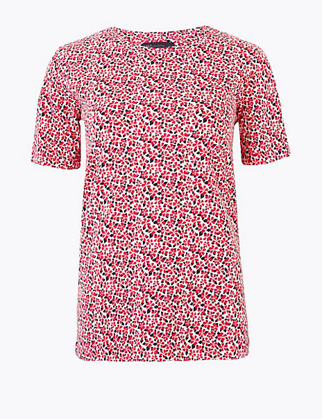 Pure Cotton Ditsy Floral Straight Fit T-Shirt
