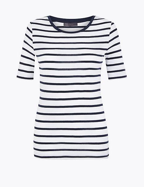 Pure Cotton Striped Regular Fit T-Shirt