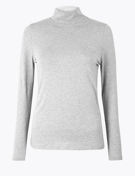 Cotton Rich Fitted Long Sleeve Top