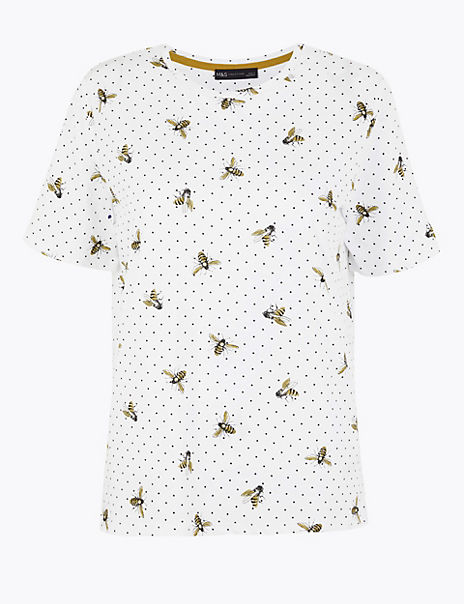 Pure Cotton Bee Print Straight Fit T-Shirt