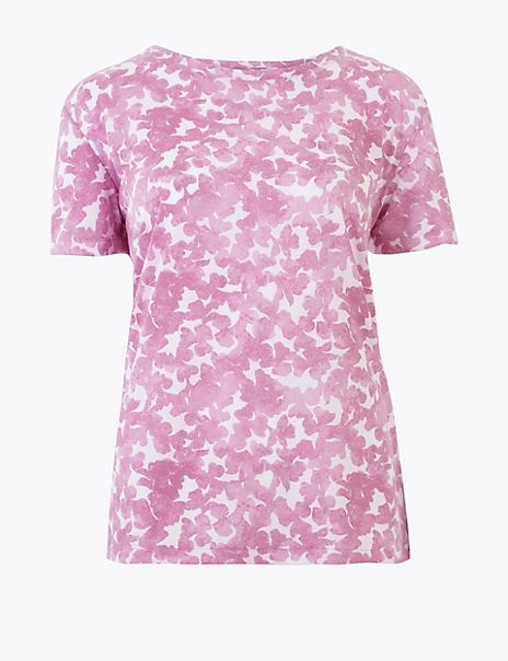 Printed Round Neck Relaxed T-Shirt