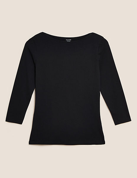Cotton Rich 3/4 Sleeve Fitted T-Shirts