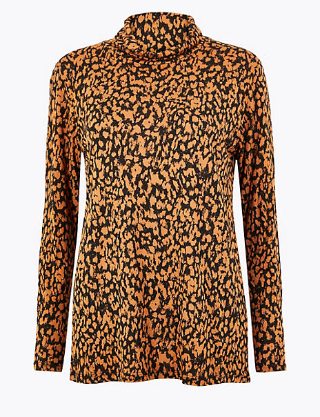 Relaxed Fit Animal Print Top