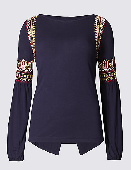 Flared Sleeve Embroidered T-Shirt