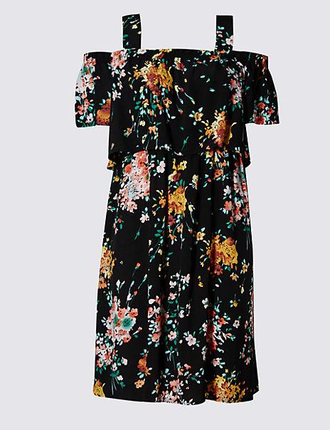 Floral Ruffle Shift Dress