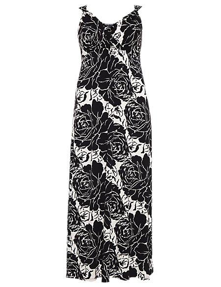 Plus Crossover V-Neck Giant Rose Print Maxi Dress