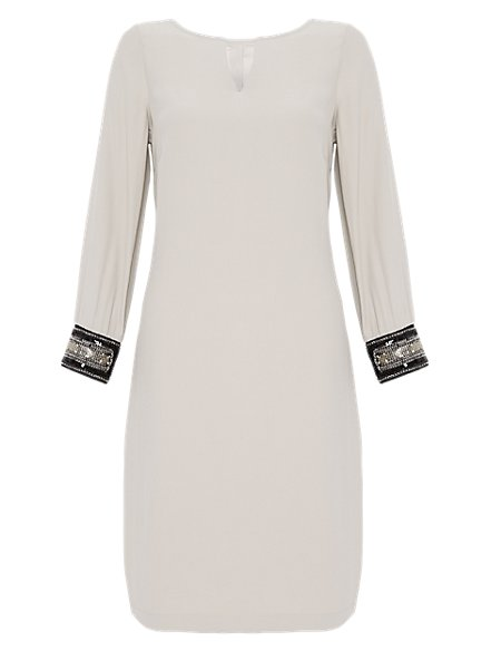 Bead Embellished Cuffed Tunic Dress