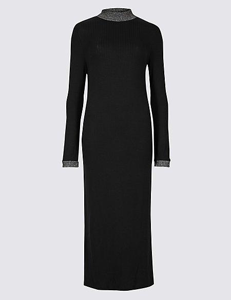 Textured Long Sleeve Maxi Dress
