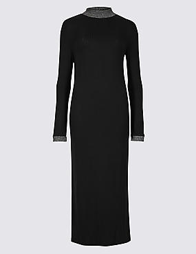Textured Long Sleeve Maxi Dress
